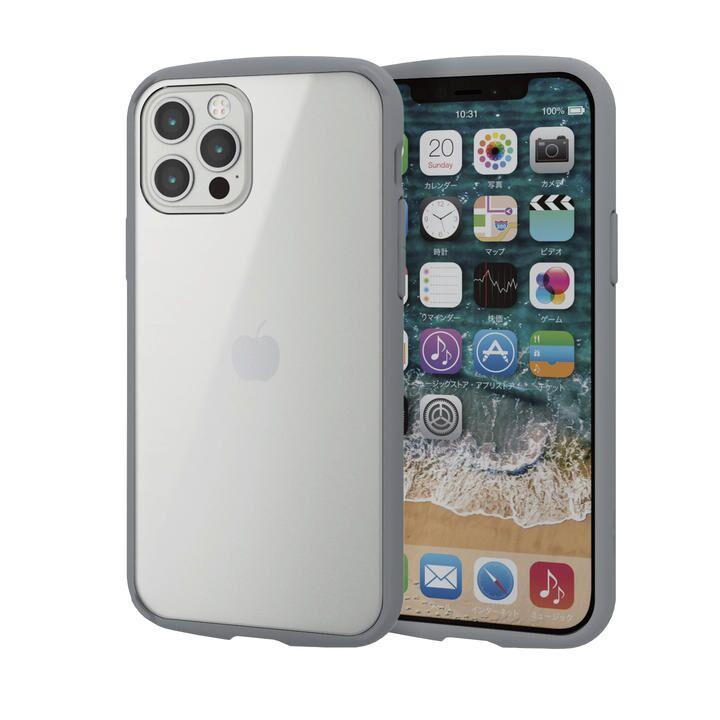 iPhoneケース フレームカラー 耐衝撃 TPU 背面 グレー iPhone 12/iPhone 12 Pro_0