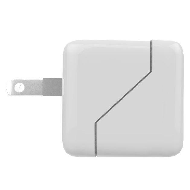 TypeCポート搭載 小型USB-AC充電器 ホワイト