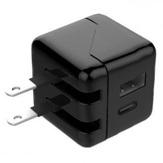 TypeCポート搭載 小型USB-AC充電器 ブラック