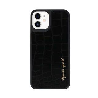 iPhone 12 mini (5.4インチ) ケース Dparks leather Case CROCO SKIN BLACK iPhone 12 mini【11月下旬】