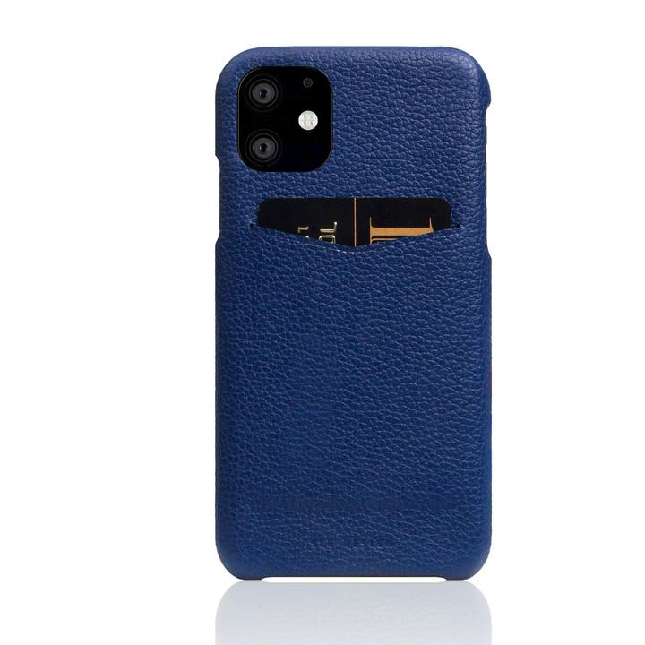 SLG Design Full Grain Leather Back Case Navy Blue iPhone 12/iPhone 12 Pro_0