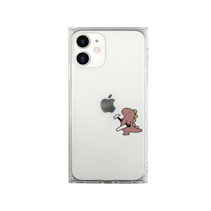 AKAN ソフトスクウェアケース おしごとザウルス 日曜大工 ピンク iPhone 12 mini_0
