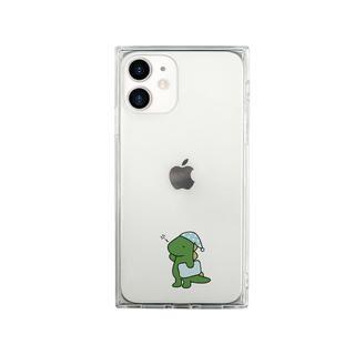 iPhone 12 mini (5.4インチ) ケース AKAN ソフト スクエアケース 眠い ダイナソー グリーン iPhone 12 mini【11月下旬】