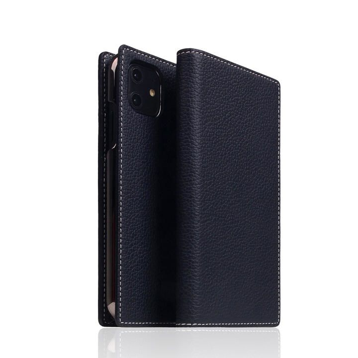 SLG Design Full Grain Leather Case Black Blue iPhone 12 mini_0