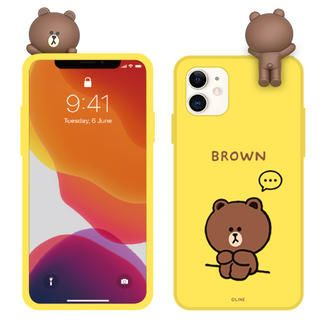 iPhone 12 / iPhone 12 Pro (6.1インチ) ケース LINE FRIENDS Figure BASIC COLOR SOFT 2020 drawing BROWN イエロー iPhone 12/iPhone 12 Pro【11月下旬】