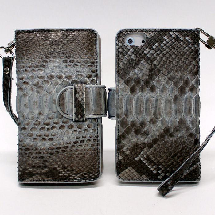 iPhone SE/5s/5 ケース iPhone 5 手帳型ケース 高級蛇本革 ブルーグレー_0