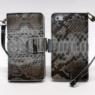iPhone 5 手帳型ケース 高級蛇本革 ブルーグレー