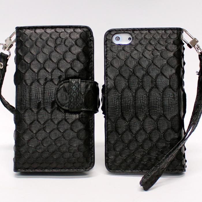 iPhone SE/5s/5 ケース iPhone 5 手帳型ケース 高級蛇本革 ブラック_0