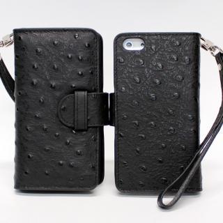iPhone 5 手帳型ケース オーストリッチ風 ブラック