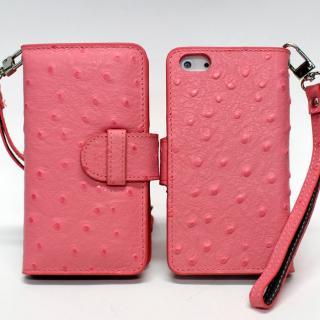 iPhone 5 手帳型ケース オーストリッチ風 ピンク