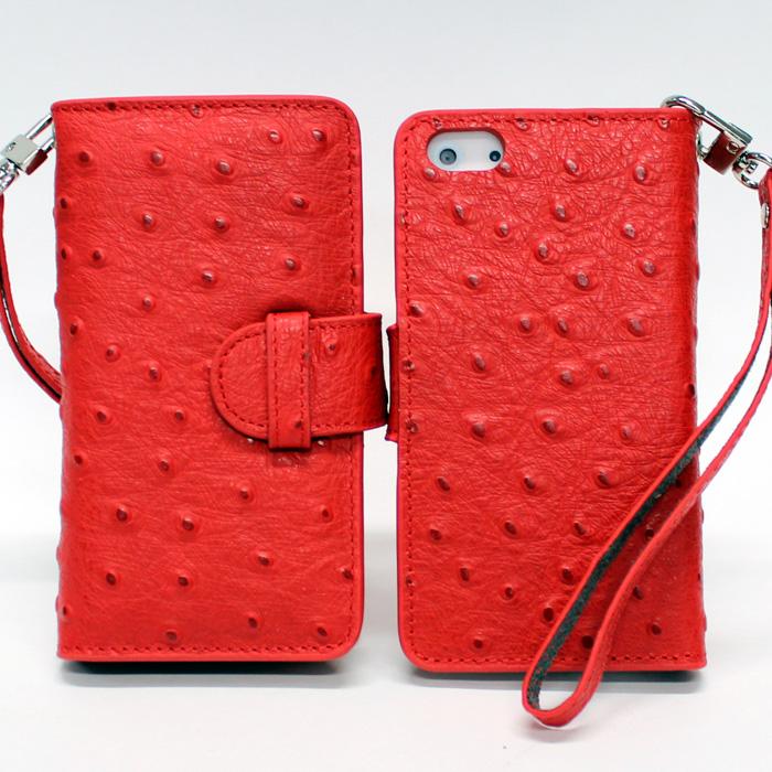 iPhone 5 手帳型ケース オーストリッチ風 レッド