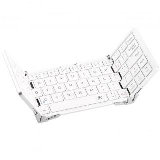 三つ折 Bluetoothコンパクトキーボード ホワイト 専用ケース付属
