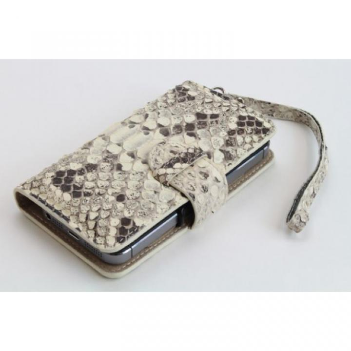 iPhone SE/5s/5 ケース iPhone 5フルカバー 高級蛇本革 ホワイト_0