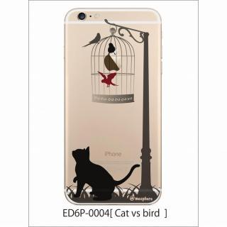 アトモスフィア クリアデザインハードケース 猫と鳥 iPhone 6 Plusケース