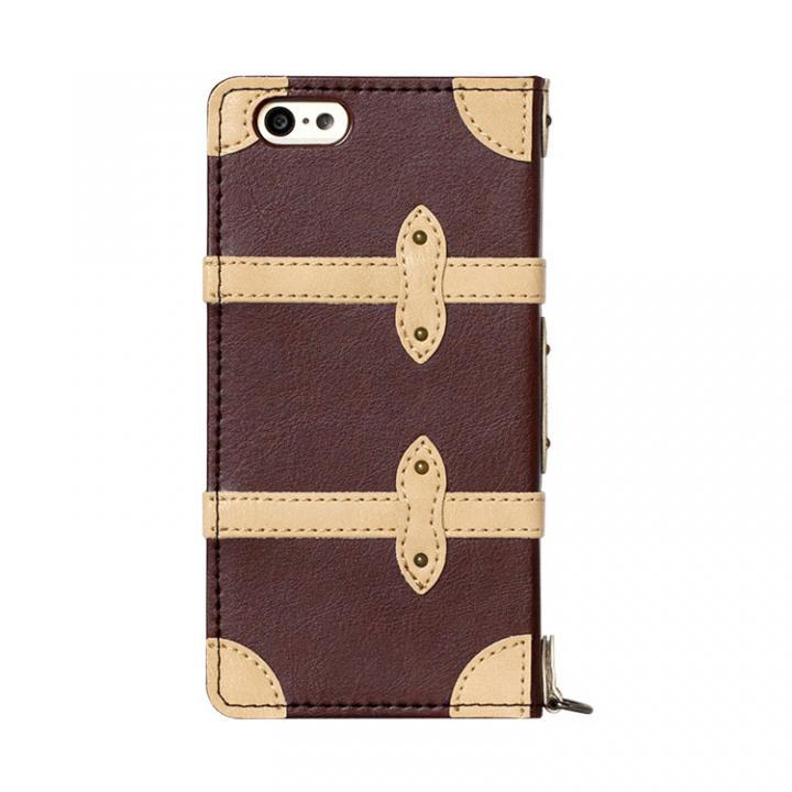 トローリー(旅行カバン)風手帳型ケース ダークブラウン iPhone 6ケース