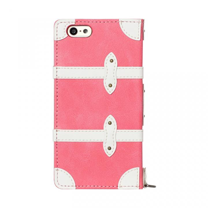 トローリー(旅行カバン)風手帳型ケース ピンク iPhone 6ケース
