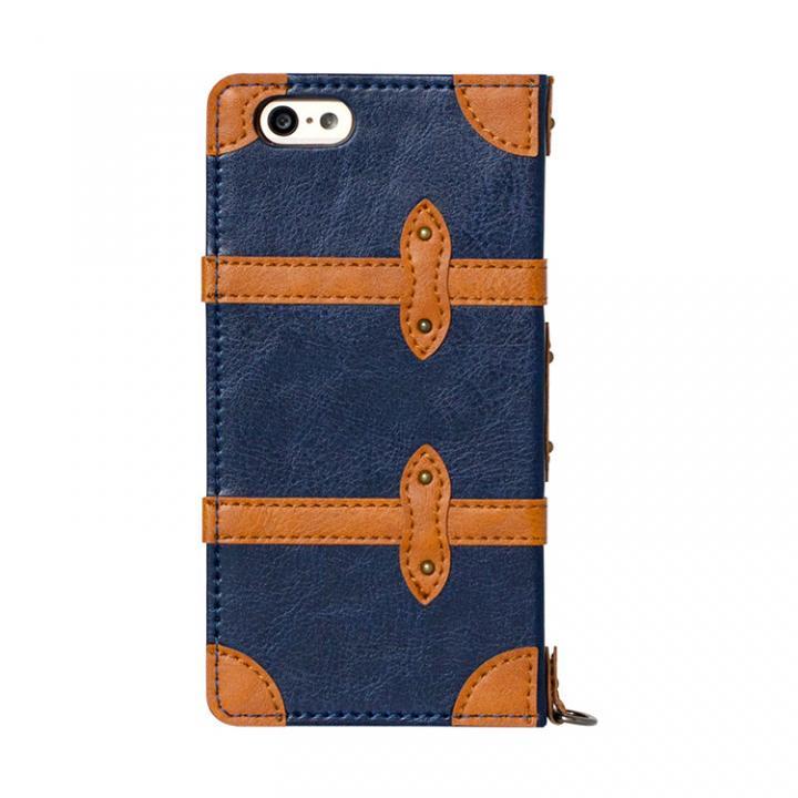 トローリー(旅行カバン)風手帳型ケース ネイビー iPhone 6ケース