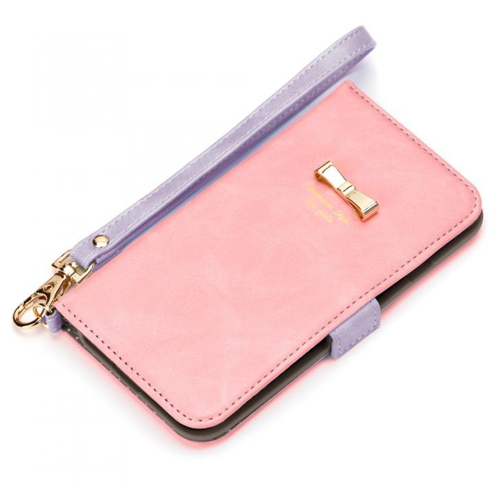 [新iPhone記念特価]Premium Style for girls 手帳型ケース パステルリボン ピンク iPhone 7