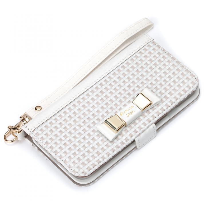 【iPhone7ケース】Premium Style for girls 手帳型ケース ダブルリボン ホワイト iPhone 7_0