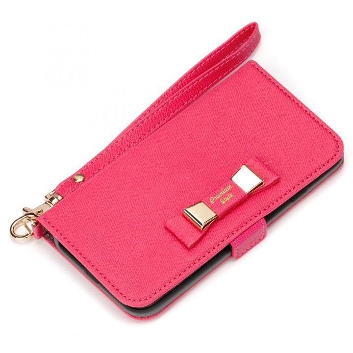Premium Style for girls 手帳型ケース ダブルリボン ホットピンク iPhone 7