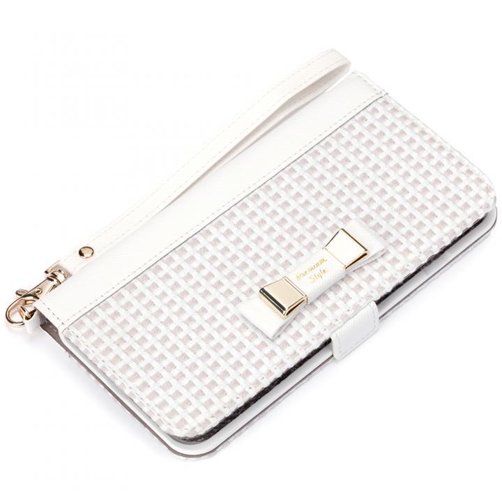 Premium Style for girls 手帳型ケース ダブルリボン ホワイト iPhone 7 Plus