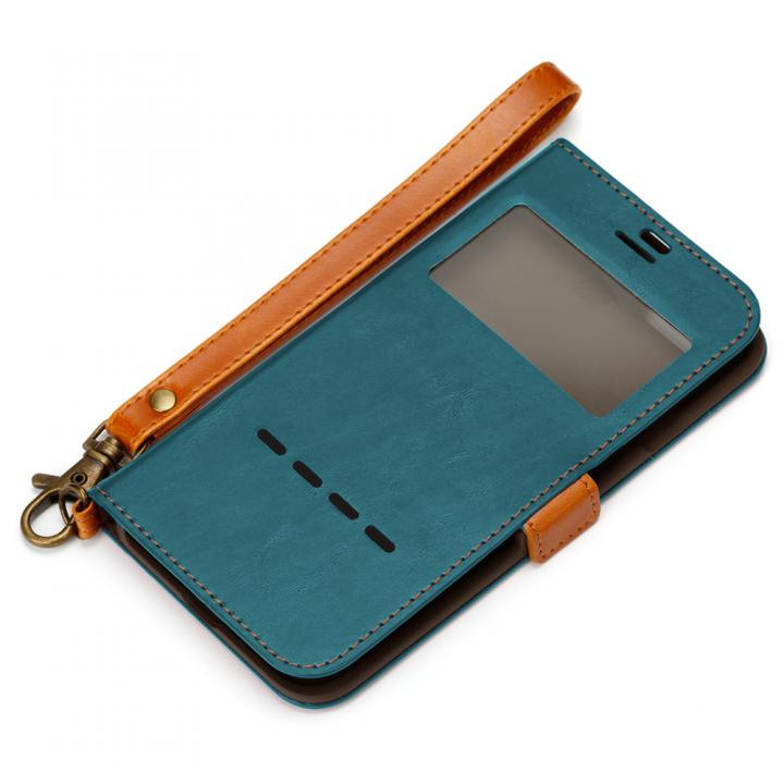 【iPhone7ケース】Premium Style 窓付き手帳型ケース ブルー iPhone 7_0