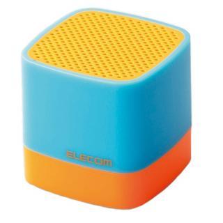 キューブ型 超コンパクトサイズBluetoothスピーカー オレンジ/シアン
