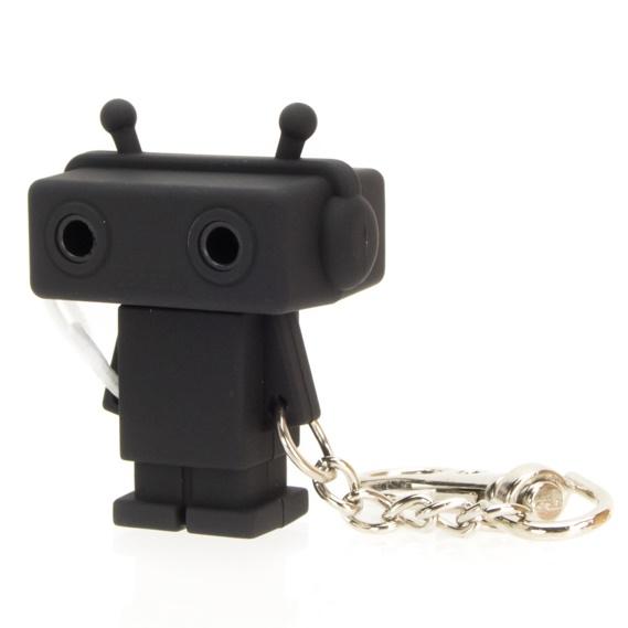 Sound Share Bot ロボット型のイヤフォンジャック分配器 ブラック_0
