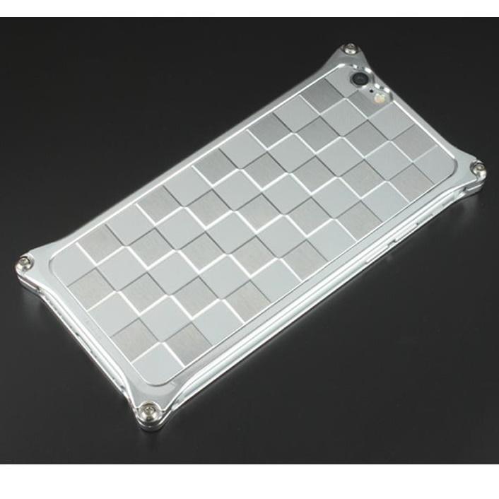 【iPhone6ケース】ギルドデザイン アルミパネル市松 ソリッドバンパー対応 シルバー iPhone 6s/6背面パネル_0