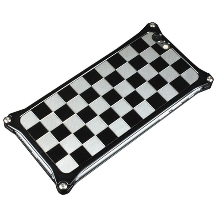 iPhone6 ケース ギルドデザイン アルミパネル市松 ソリッドバンパー対応 シルバーブラック iPhone 6s/6背面パネル_0