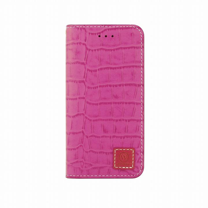 手帳型ケース DESIGNSKIN Wetherby クロコダイル型押しピンク iPhone 6ケース