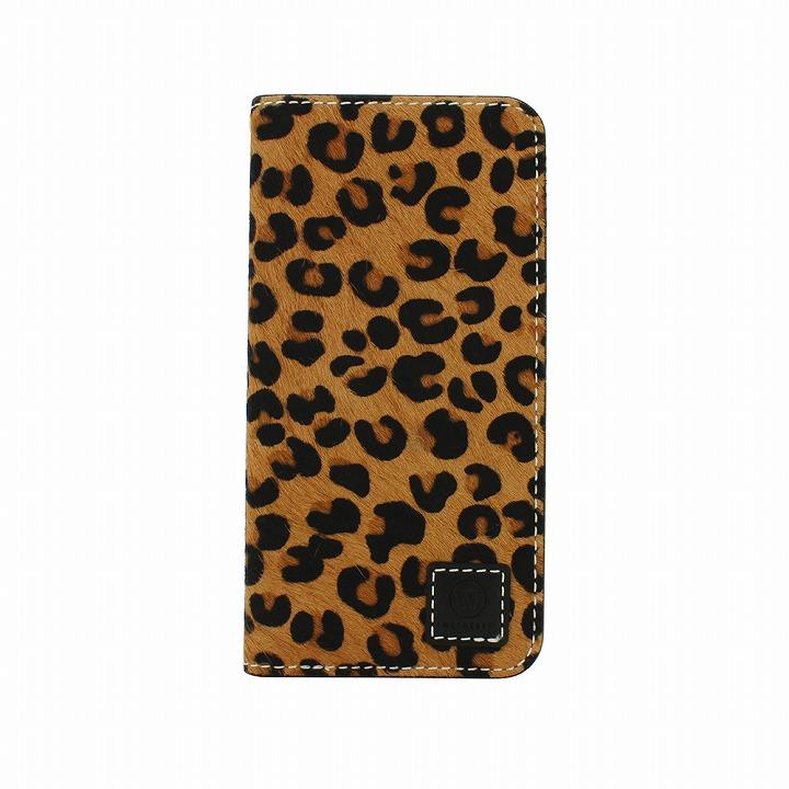 手帳型ケース DESIGNSKIN Wetherby プレミアムブラック 豹柄のファー iPhone 6ケース