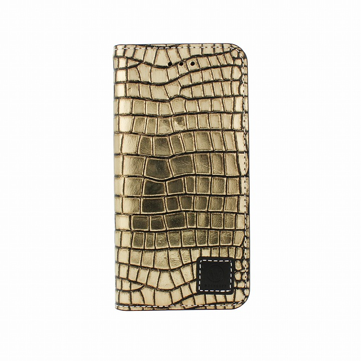 【iPhone6ケース】手帳型ケース DESIGNSKIN Wetherby プレミアムブラック クロコ押しゴールド iPhone 6ケース_0