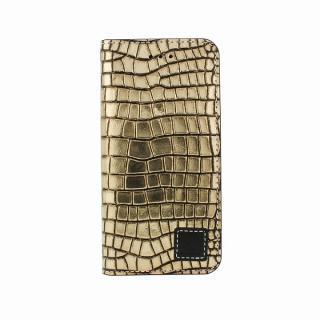 手帳型ケース DESIGNSKIN Wetherby プレミアムブラック クロコ押しゴールド iPhone 6ケース