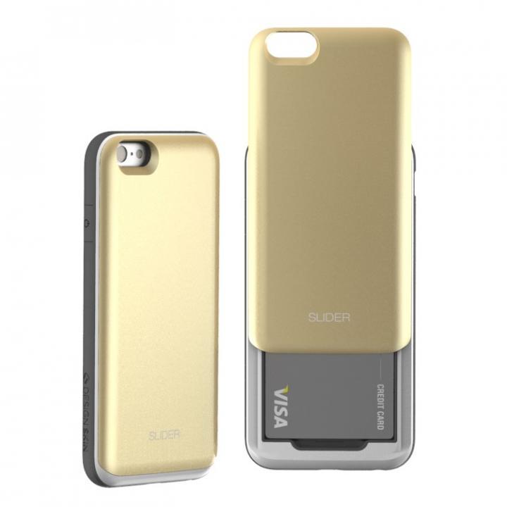 背面にカード収納 DESIGNSKIN SLIDER ゴールド iPhone 6ケース