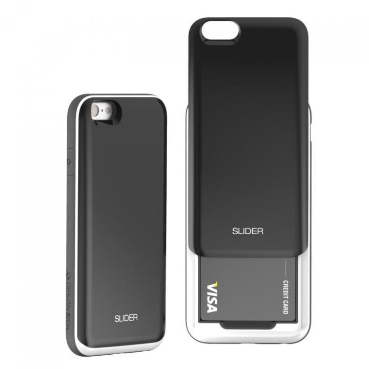 背面にカード収納 DESIGNSKIN SLIDER ブラック iPhone 6ケース