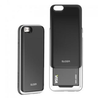 【10月下旬】背面にカード収納 DESIGNSKIN SLIDER ブラック iPhone 6ケース