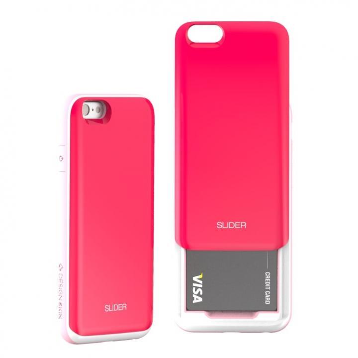 背面にカード収納 DESIGNSKIN SLIDER ホットピンク iPhone 6s/6ケース