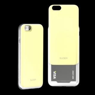 背面にカード収納 DESIGNSKIN SLIDER レモンイエロー iPhone 6ケース