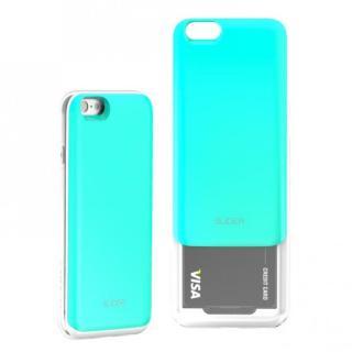 背面にカード収納 DESIGNSKIN SLIDER ミントブルー iPhone 6s/6ケース