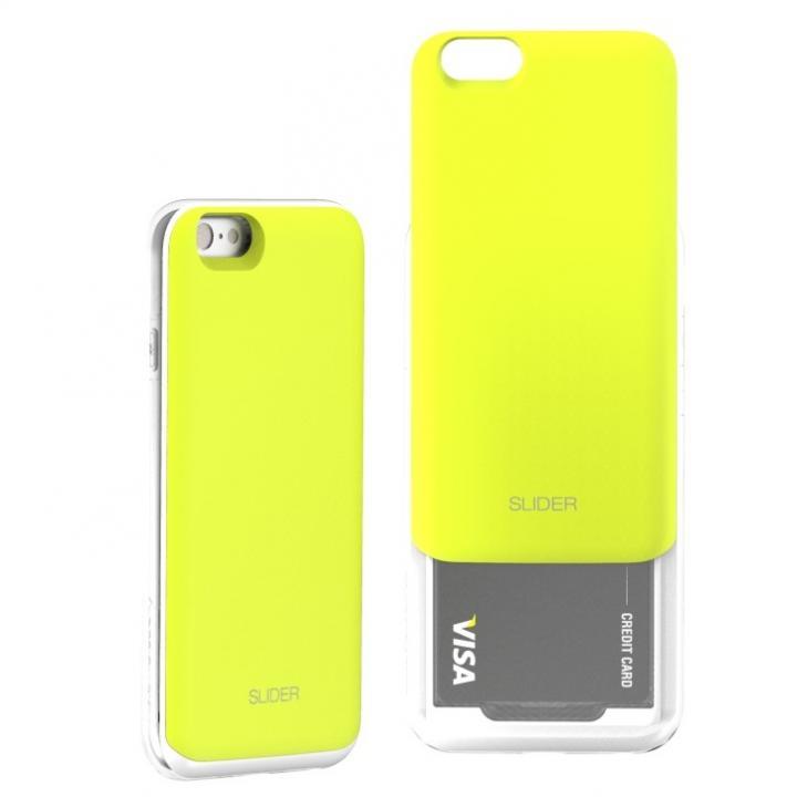 【iPhone6ケース】背面にカード収納 DESIGNSKIN SLIDER ライム iPhone 6ケース_0