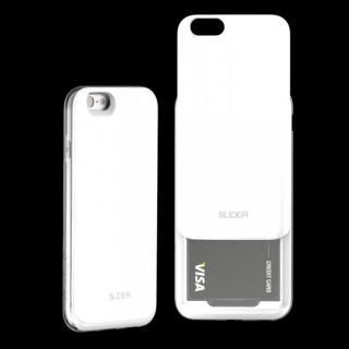 背面にカード収納 DESIGNSKIN SLIDER ホワイト iPhone 6ケース