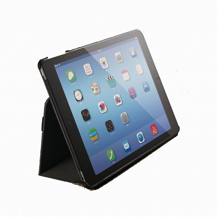 スタンド2段階調整可能 ソフトレザーケース ブラック iPad Air 2ケース_0