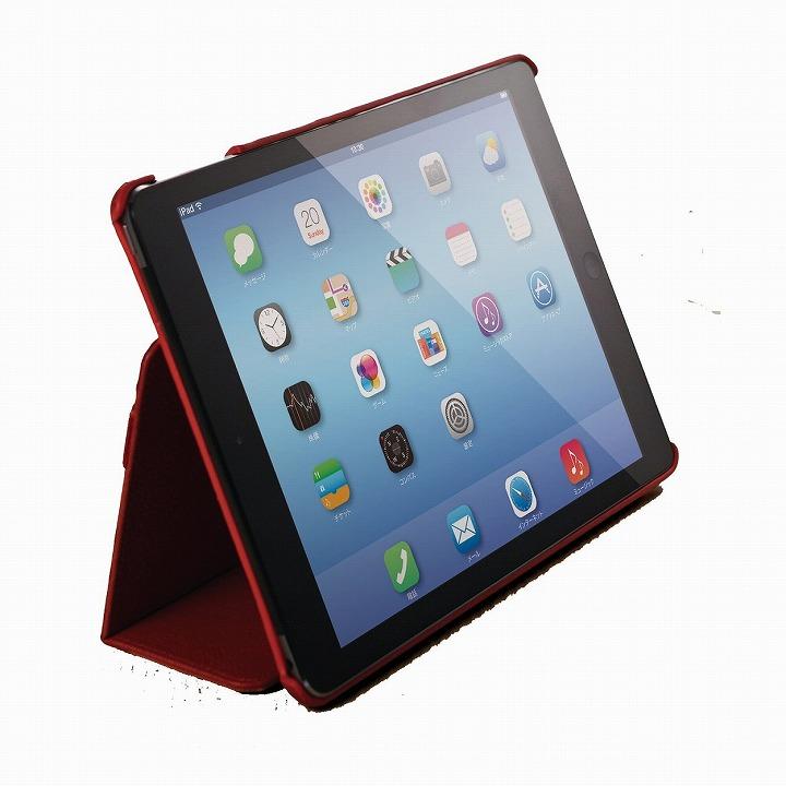 スタンド2段階調整可能 ソフトレザーケース レッド iPad Air 2ケース_0