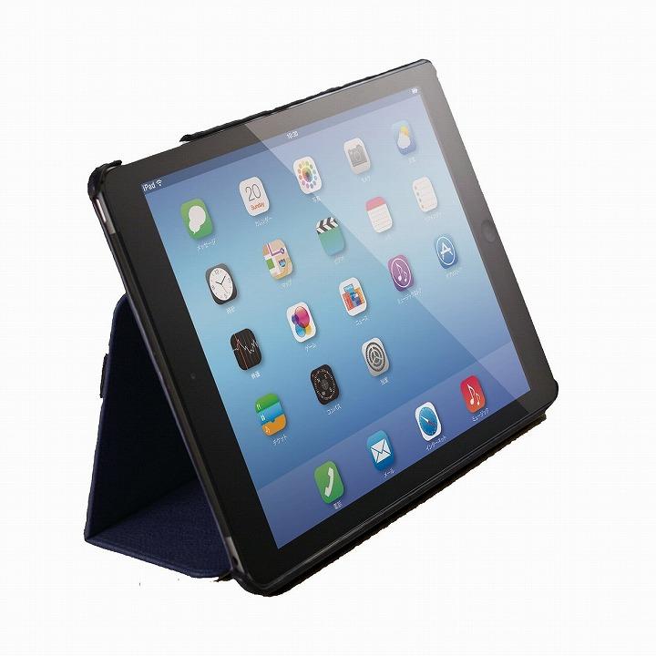 スタンド2段階調整可能 ソフトレザーケース ブルー iPad Air 2ケース_0
