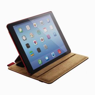 スタンド4段階調節可能 ソフトレザーケース レッド iPad Air 2ケース