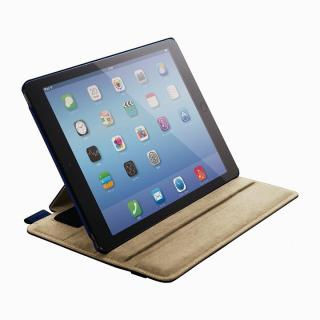 スタンド4段階調節可能 ソフトレザーケース ブルー iPad Air 2ケース