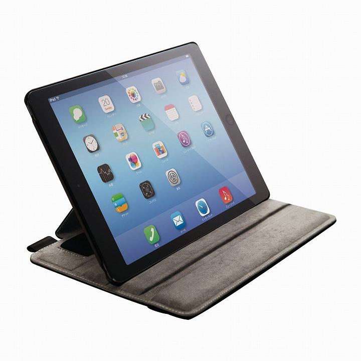 スタンド4段階調節可能 ソフトレザーケース ブラック iPad Air 2ケース
