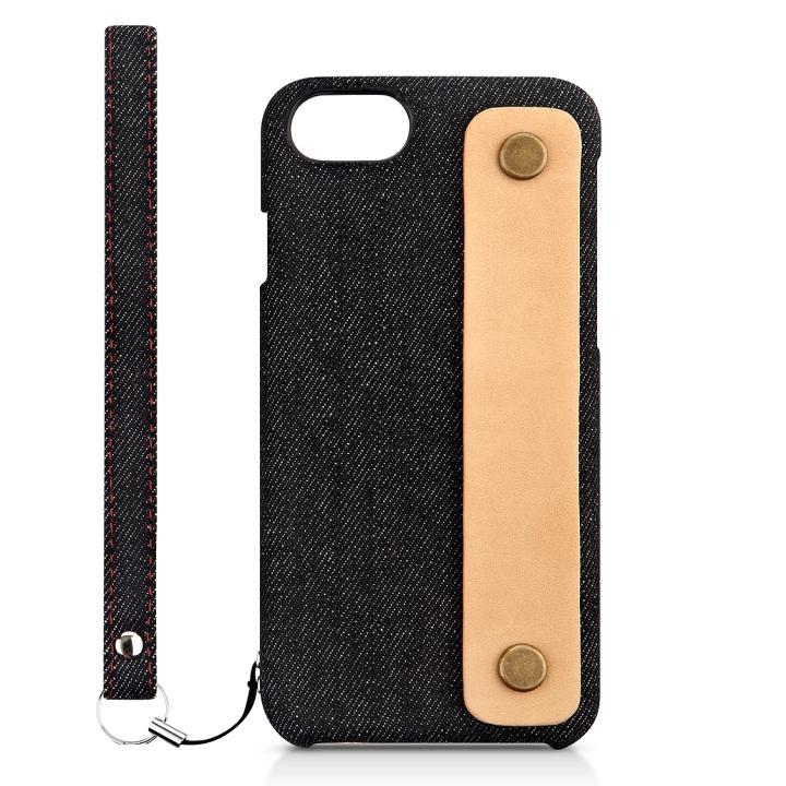 iPhone7 ケース NUNO カードポケット 背面バンド付きファブリックケース ブラックデニム iPhone 7_0