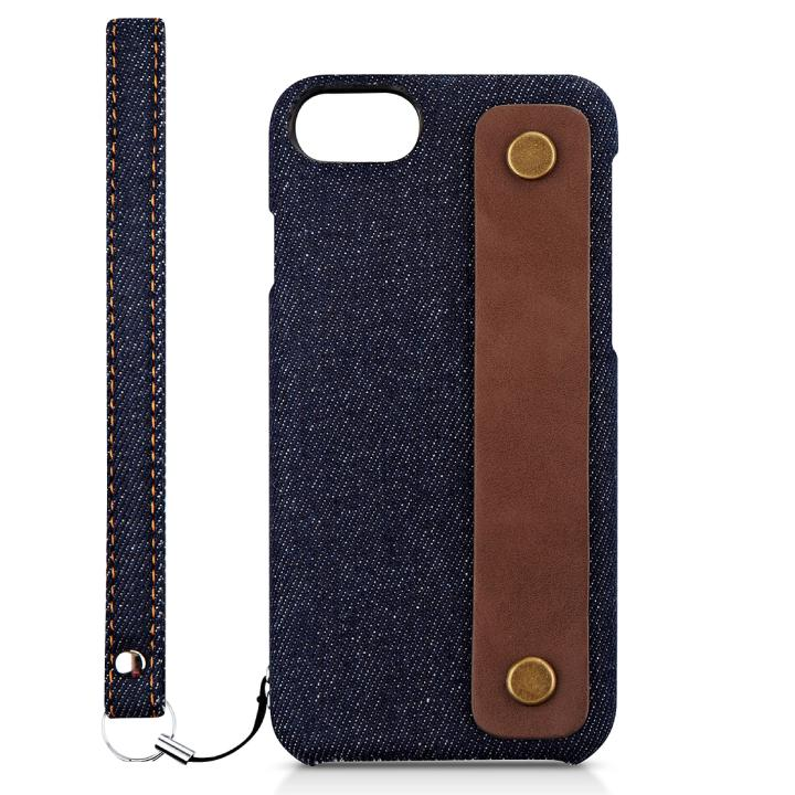【iPhone7ケース】NUNO カードポケット 背面バンド付きファブリックケース デニム iPhone 7_0